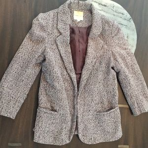 Silence+Noise tweed herringbone 3/4 sleeve blazer